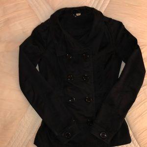 H&M black lightweight pea coat